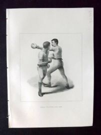 Badminton Library 1893 Antique Boxing Print. The Side Step